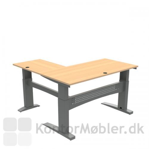 Conset 501-11 hæve sænke bord m. sidebord. Bordstørrelse 160x80 cm sidebord 80x60 cm