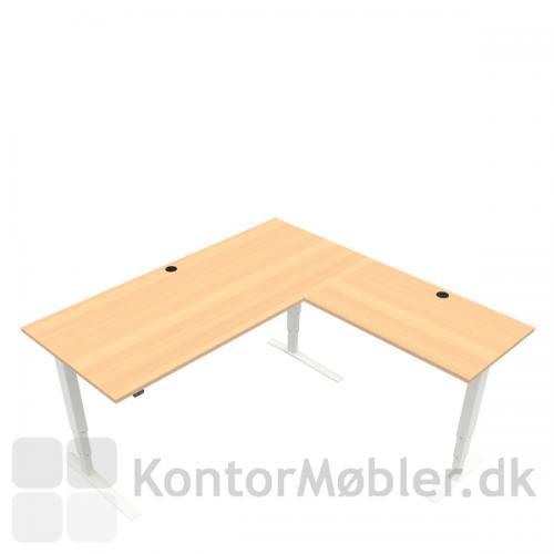 Conset 501-43 hæve sænke bord m. sidebord. Bordstørrelse 180x80 cm sidebord 100x60 cm