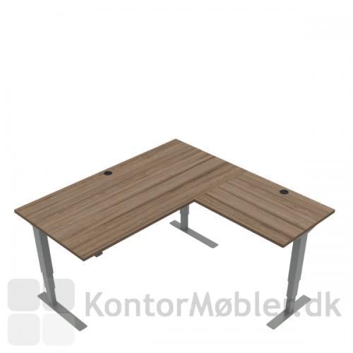 Conset 501-37 hæve sænke bord m. sidebord. Bordstørrelse 160x80 cm sidebord 80x60 cm