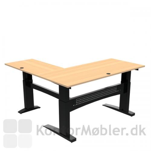 Conset 501-11 hæve sænke bord m. sidebord. Bordstørrelse 180x80 cm sidebord 100x60 cm