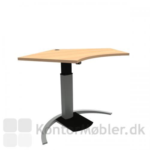 Conset 501-19 Design hæve sænke bord med bøg melamin bordplade og sølv stel