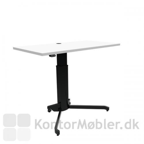 Conset 501-7 hæve sænke bord med hvid melamin bordplade og sort stel