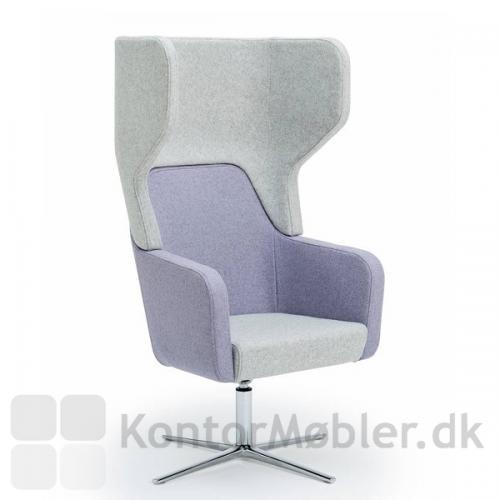 Harc Tub loungestol med høj ryg og drejbar stel, samt flydende vip