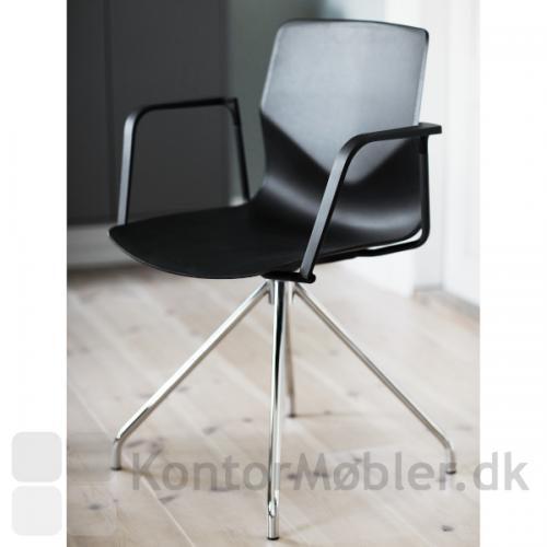 Four Sure 11 mødestol med læderpolstring