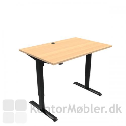 Conset 501-33 hæve sænke bord med bordpladestørrelse 120x80 cm, sorte ben
