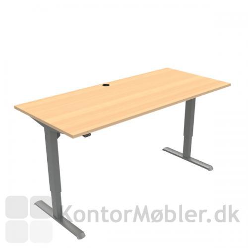 Conset 501-33 hæve sænke bord med bordplade i bøg melamin 180x80 cm, sølv ben