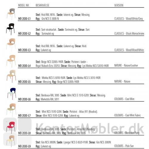 Magnus Olesen Ø Chair kan købes i disse 9 varianter, både med og uden sædepolstring