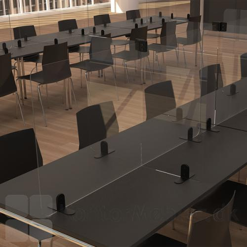 Afskærmning mod smitte i plexiglas med sideskærm til kantine eller mødelokalet