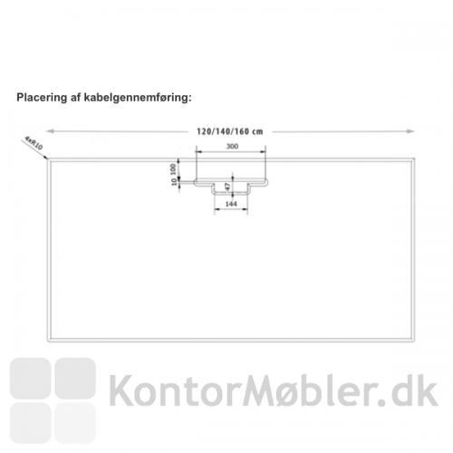 Delta hæve-sænkebord i hvid laminat med kabelgennemføring og kabelbakke. Fås i størrelserne 80x120, 80x140 og 80x160 cm.