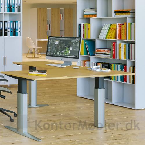 Conset 501-23 hæve sænke bord med sidebord med bordplade i bøg melamin og silver ben