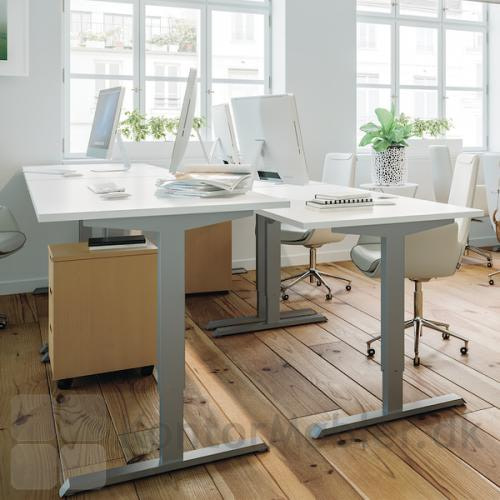 Conset 501-33 hæve sænke bord med hvid bordplade og silver stel
