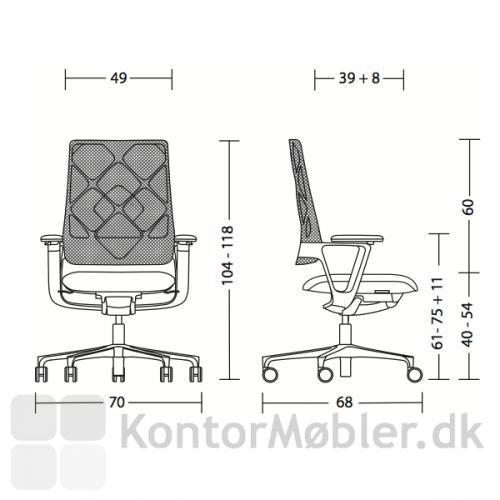 Connex2 kontorstol med netryg med sædevandring fra 40 til 54 cm