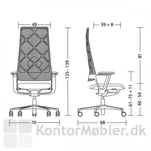 Connex2 konferencestol med netryg med sædevandring fra 40 til 54 cm
