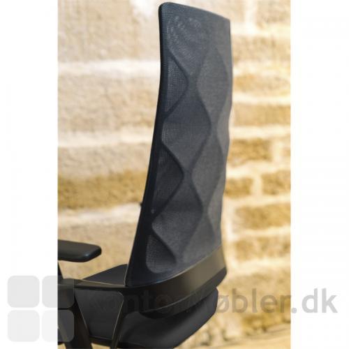 Connex2 konferencestol med netryg. Ryggen er 81 cm høj