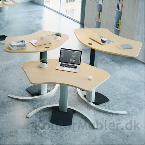 Conset 501-19 Design bord med silver stel og bordplade i bøg melamin