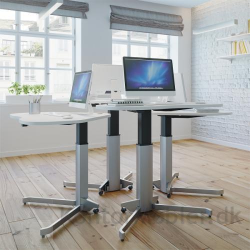 Conset 501-7 enkelt søjle hæve sænke bord med hvid bordplade