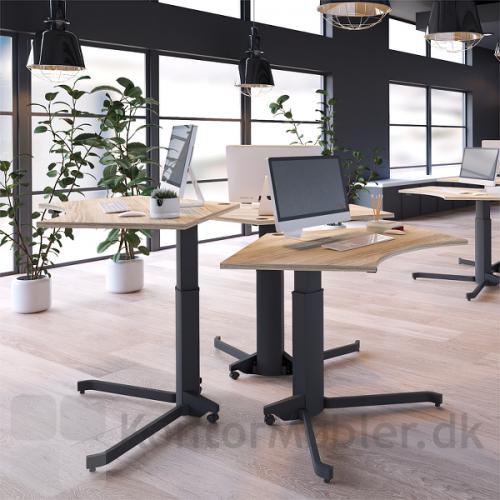 Conset 501-7 enkelt søjle hæve sænke bord med sort stel