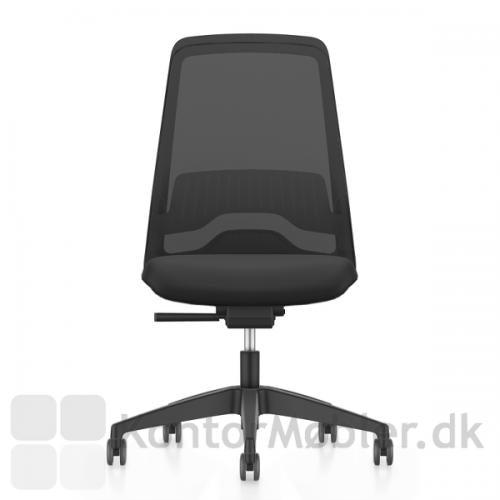 Every Sort Kontorstol - Netryg uden armlæn, en meget minimalistisk kontorstol