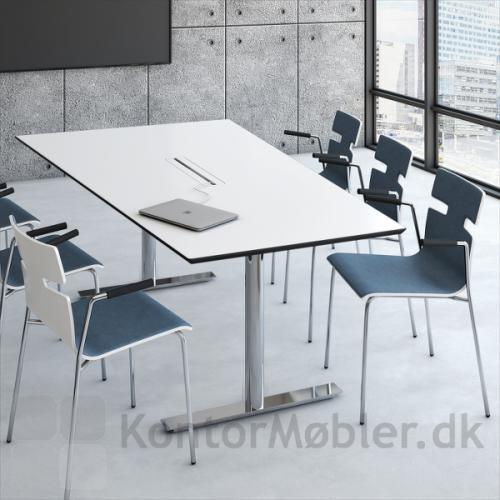 Videomøde bord med bordplade i hvid laminat og dobbelt kabelgennemføring