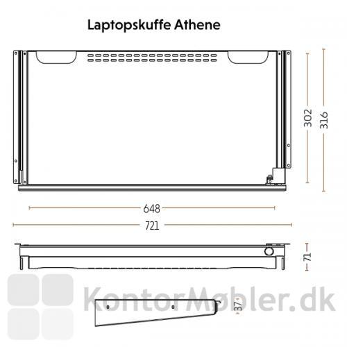 Athene laptopskuffe med lås med mål