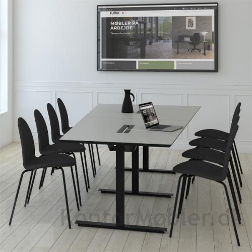 Videokonference bord med 2 bordplader, dobbelt kabelklap og sort kabelbakke