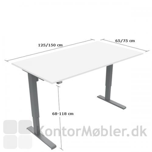 Basic hæve sænke bord i laminat med mål
