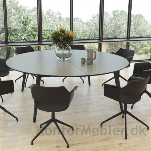 Madrid rundt konferencebord, grå bordplade med sort kantfarve og sorte ben