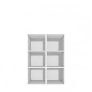 Reol med 6 små rum - vælg skuffer og låger