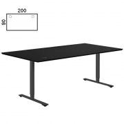 Delta hæve sænke bord 200x90 sort nanolaminat