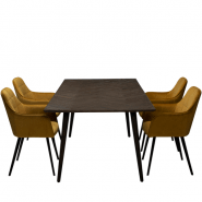 Elegant mødebord med 4 komfortable velour stole