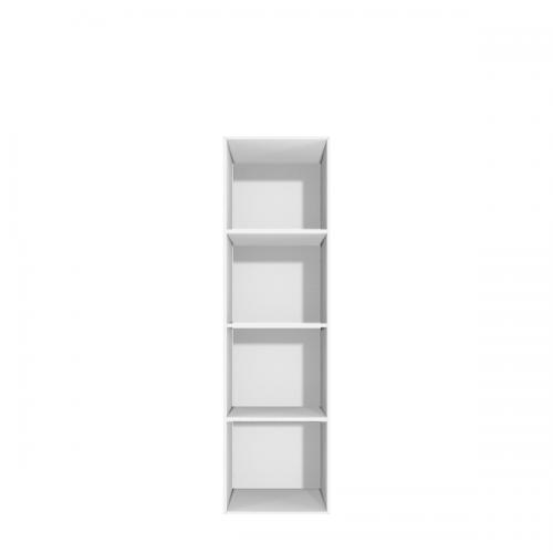 Smal reol med 4 rum - skuffe eller låger