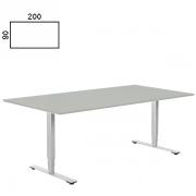 Delta hævesænke bord med lys grå bordplade