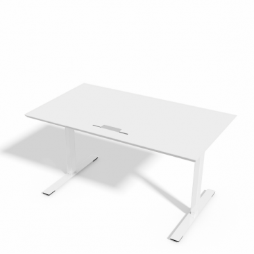 Delta hæve-sænkebord i hvid laminat