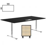 2 stk. Delta hæve sænke bord i sort linoleum + 1 stk skuffekassette