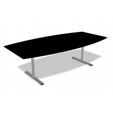 Dencon Delta mødebord i sort linoleum  - Sort, hvidt eller alu stel.