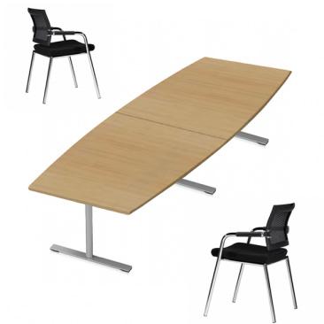 Konferencebord i finér med Skin stole