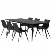 Sortbejdset mødebord med 6 pitch stole