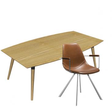Nordisk træ mødebord med 6 mødestole