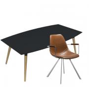 Nordisk mødebord i linoleum med 6 mødestole