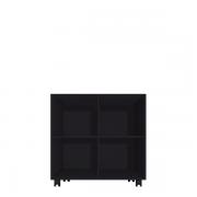 Bogkasse med 4 rum i sort med hjul