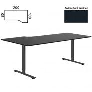 Delta hæve sænke bord h/vendt 200x100 antracit