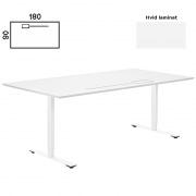 Delta hæve sænke bord 180x90 cm. hvid med luge