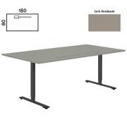 Delta hæve sænke bord 160x80 lysgrå linoleum med klap