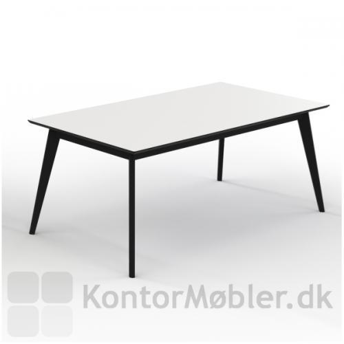 Madrid konferencebord med hvid bordplade, sort affaset bordkant og sortlakeret massive egetræs ben