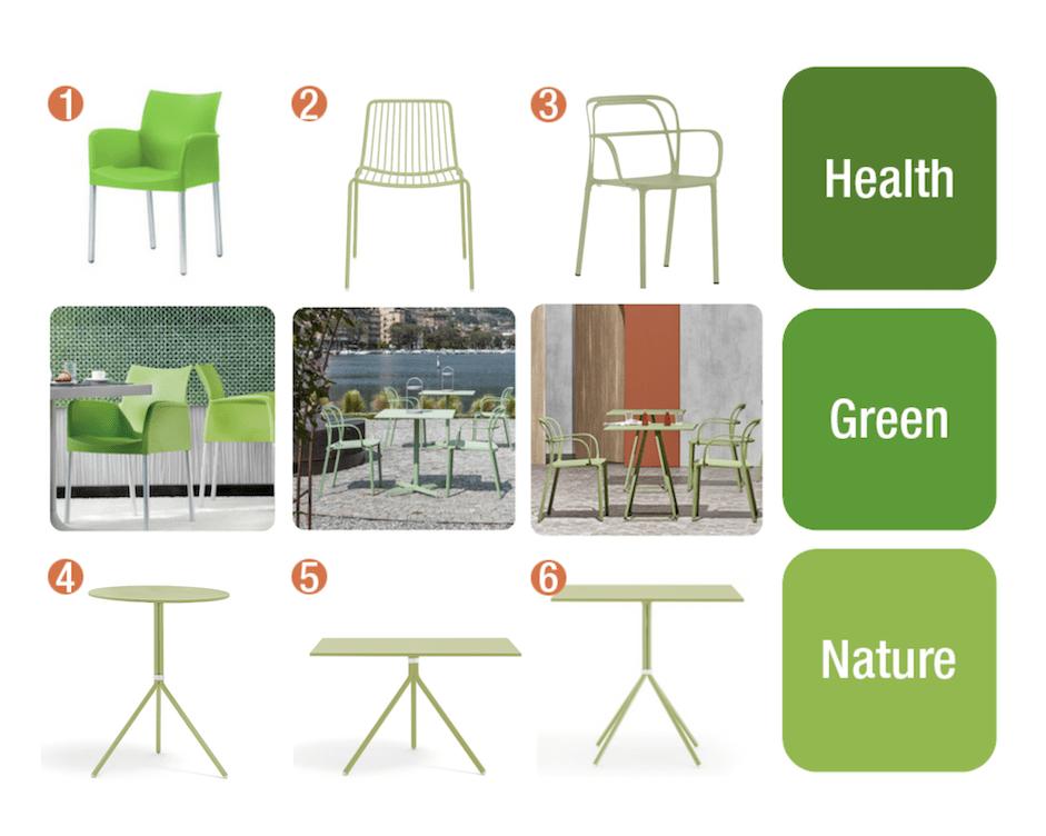 Grønne cafemøbler