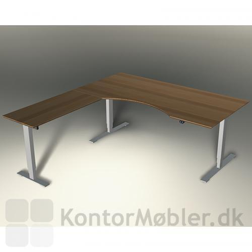 Tilbygningsbordet til Delta-serien fra Dencon. Her vist med plade i bøg og alu-stel
