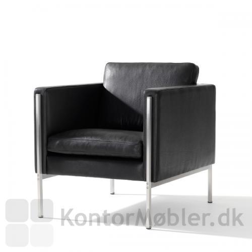 Capri stol i sort læder