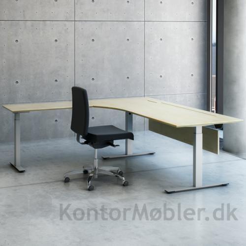 Hæve sænke bord i Ahorn med alu stel og sidebord