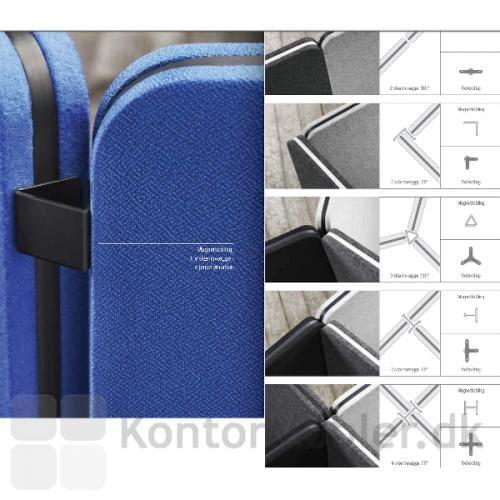 Edge skærmvæg kan sættes sammen vha. den indbyggede magnetfunktion