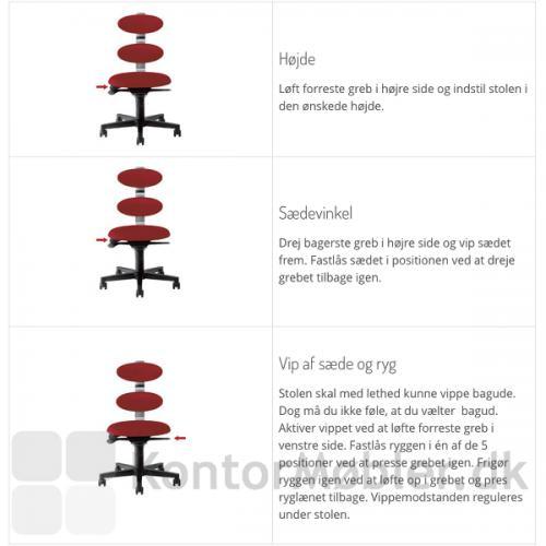 Indstilling af Spinella kontorstol, højde, sædevinkel og vip af sæde og ryg
